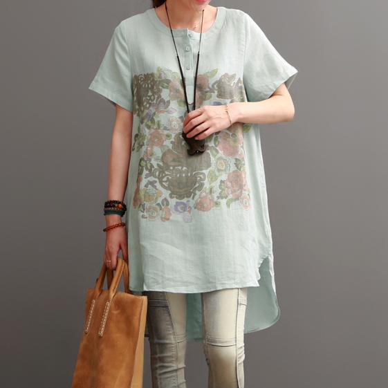 Light green print cotton dresses oversize summer women shirt blouse