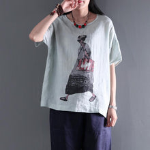 Load image into Gallery viewer, Light green summer women print linen top plus size shirt city girl casual style