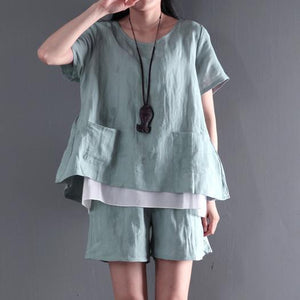 Light green two pieces linen summer top shirt and shorts pants set cotton casual style