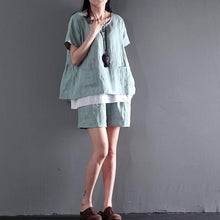 Load image into Gallery viewer, Light green two pieces linen summer top shirt and shorts pants set cotton casual style