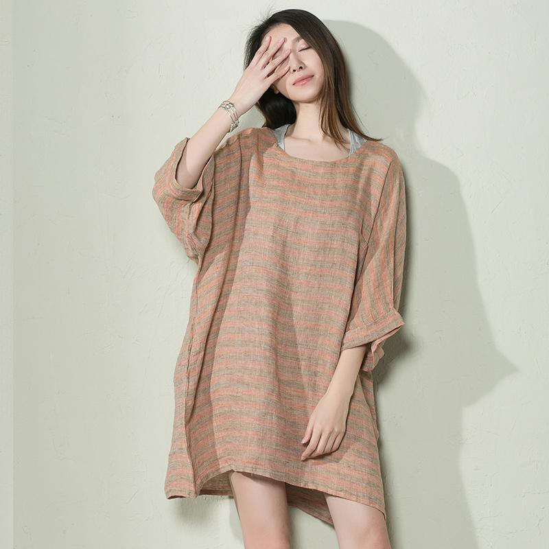 Light orange plus size linen sundress oversize summer dresses