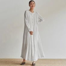 Load image into Gallery viewer, Linen Organ Pleats Solid Color Elegant Dress