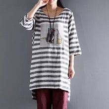 Load image into Gallery viewer, Linen half sleeve sundress casual shift dresses plus size