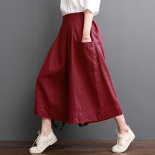 Load image into Gallery viewer, Linen pants summer red wide leg pants crop trousers