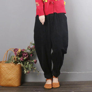 Literary Fan Casual Pants Women's Autumn Large Size Loose black Corduroy Harem Pants