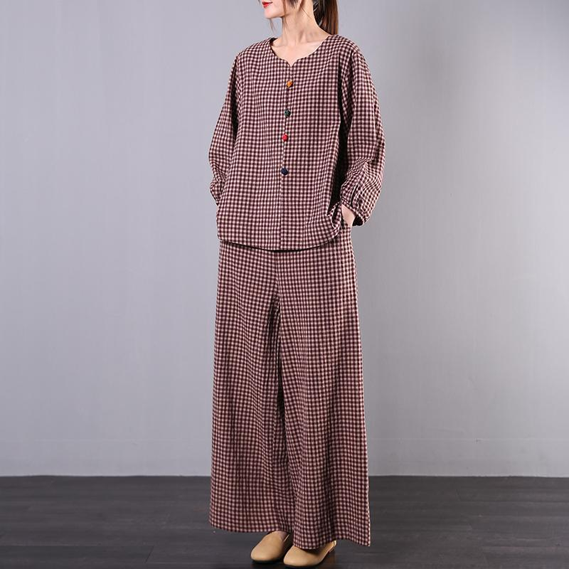 Literary spring loose and slightly fat wide leg pants red plaid cotton and linen
