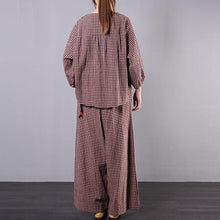Load image into Gallery viewer, Literary spring loose and slightly fat wide leg pants red plaid cotton and linen
