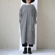 Load image into Gallery viewer, Long Sleeve Lacing Stripe Splitting Dress For Women