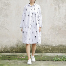 Load image into Gallery viewer, Long Sleeve Printed Polo Collar White Women Dress