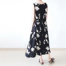 Load image into Gallery viewer, Long sleeve black floral dresses  fall oversized cotton dresses linen caftans