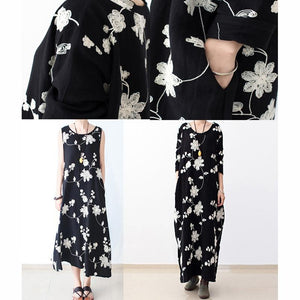 Long sleeve black floral dresses  fall oversized cotton dresses linen caftans