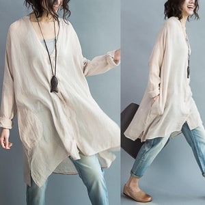Long sleeve cozy cotton dress oversize tunic cotton shirts plus size cotton tops