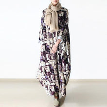 Load image into Gallery viewer, Long sleeve print linen maxi dresses winter dresses oversize