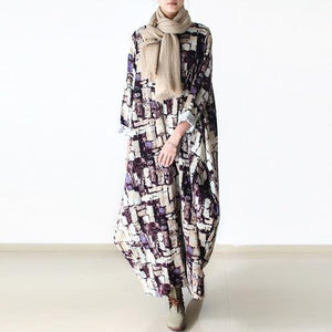 Long sleeve print linen maxi dresses winter dresses oversize