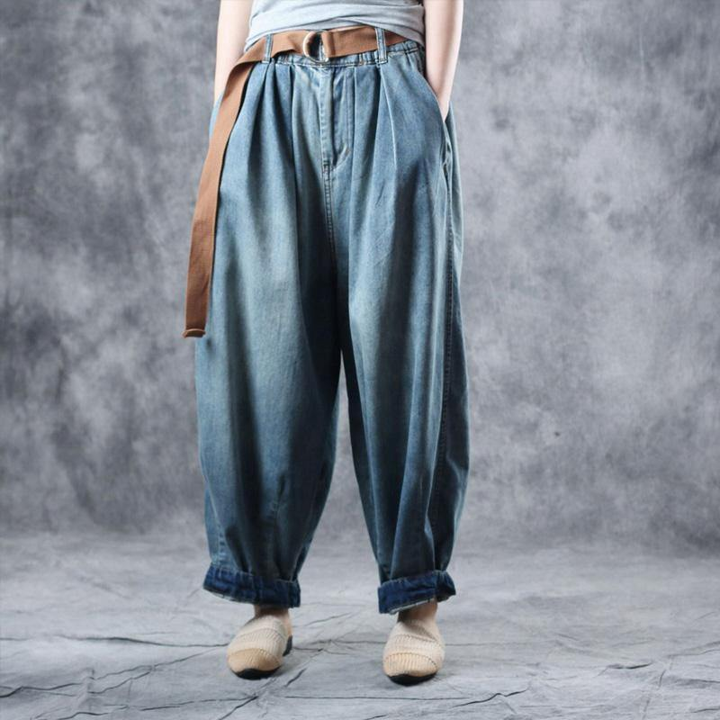 Loose 2019 denim blue cotton leisure travel harem pants women's autumn new style
