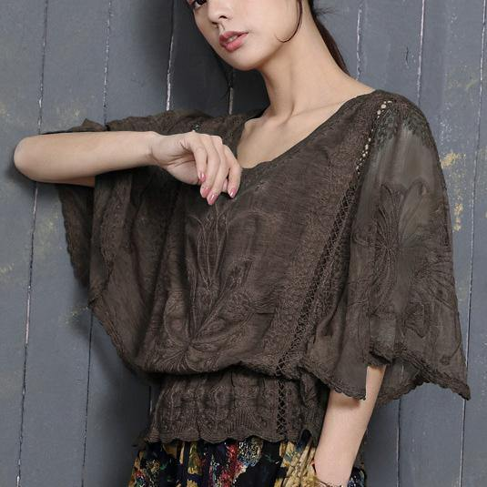 Loose Batwing Sleeve cotton Blouse Tunic Tops chocolate hollow out shirts summer