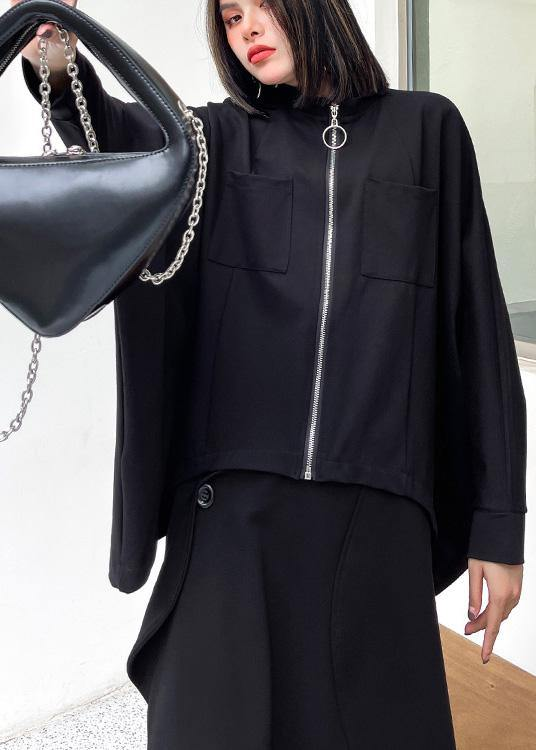 Loose Black Pockets Zippered Jackets Spring