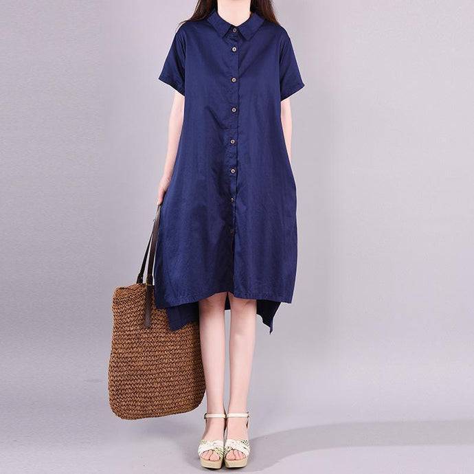 Loose Cotton dresses Organic Summer Casual Elegant Polo Collar Shirt Dress