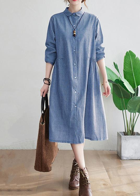 Loose Lapel Cinched Spring Tunic Sewing Blue Plaid Long Dress