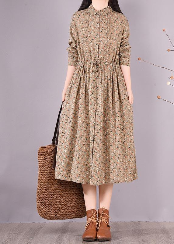 Loose Lapel Drawstring Spring Tunic Pattern Sewing Khaki Print Maxi Dresses