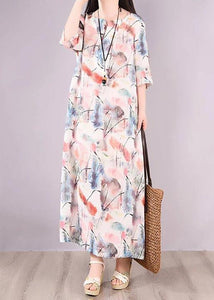 Loose Linen Clothes Women Floral Green Print Pocket Long Dress