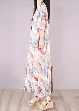 Load image into Gallery viewer, Loose Linen Clothes Women Floral Green Print Pocket Long Dress