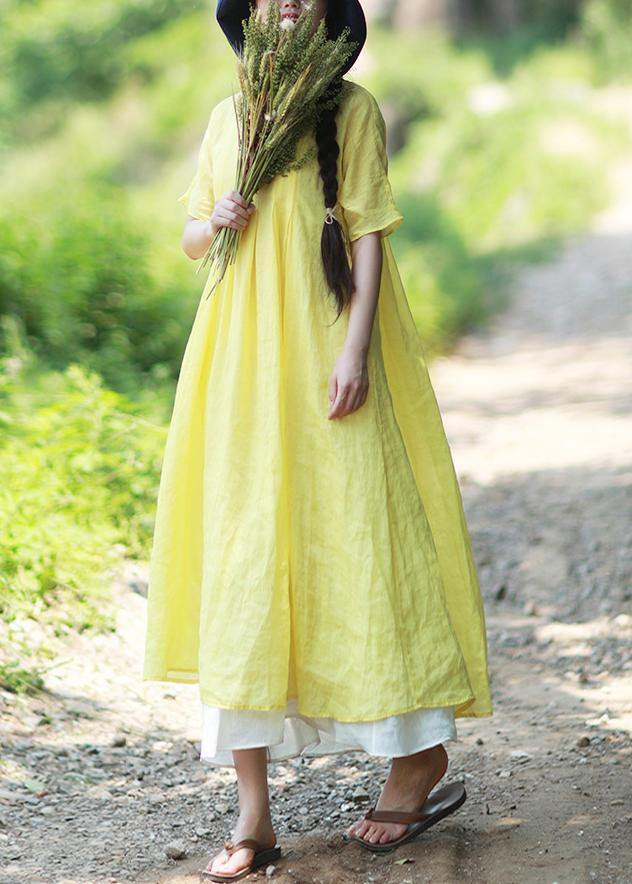 Loose O Neck Short Sleeve Clothes Work Yellow Vestidos De Lino Dresses
