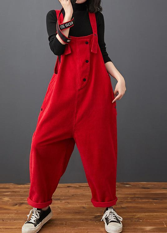 Loose Red Pants Stylish Spring Jumpsuit Pants Work Outfits Women Trousers