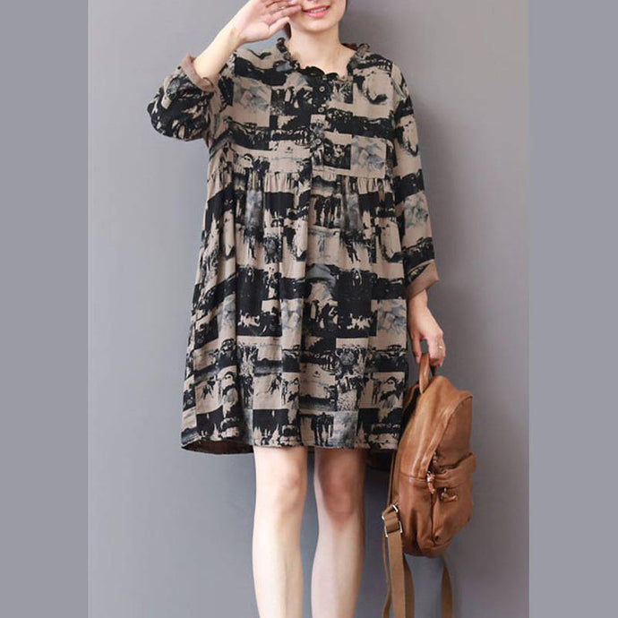 Loose Ruffled wrinkled Cotton dress Shape black print Dresses