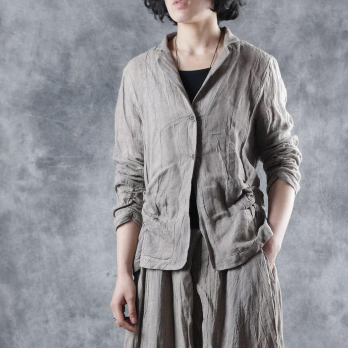 Loose Square Collar linen outwear women Sleeve nude coats fall
