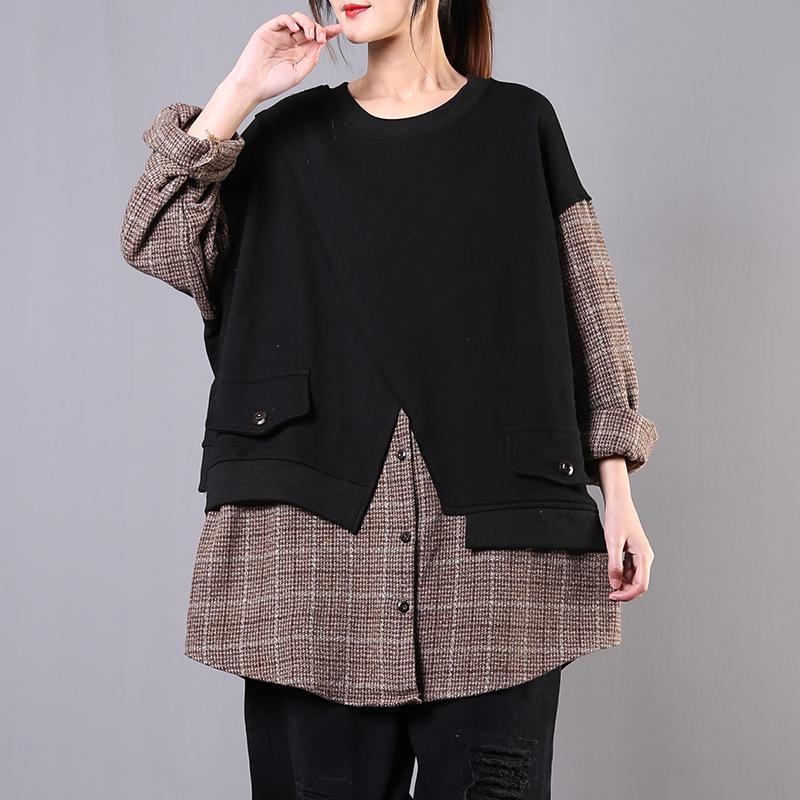 Loose black cotton clothes o neck false pieces Vestidos De Lino shirt