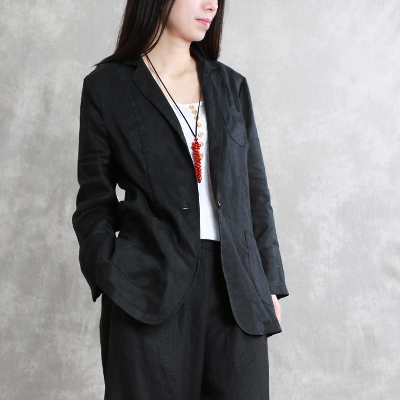 Loose black linen clothes Notched pockets Vestidos De Lino summer coat