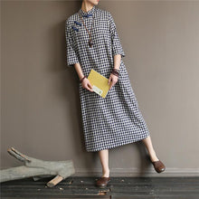 Load image into Gallery viewer, Loose bracelet sleeved cotton stand collar clothes For Women Shirts plaid Dresses