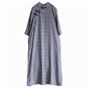 Loose bracelet sleeved cotton stand collar clothes For Women Shirts plaid Dresses