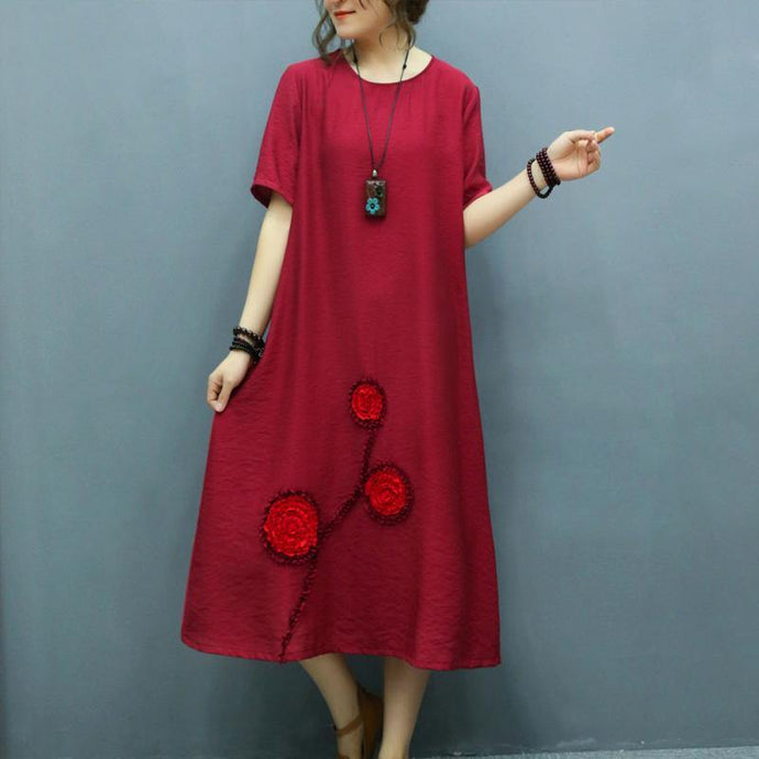 Loose burgundy linen outfit o neck Appliques linen robes summer Dress