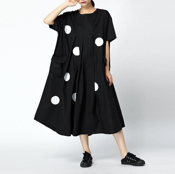 Loose cotton blended dresses plus size Dots Loose Round Neck Retro Midi Dress