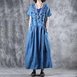 Loose cotton tunic dressplus size Floral Embroidery Lacing Loose Denim Dress