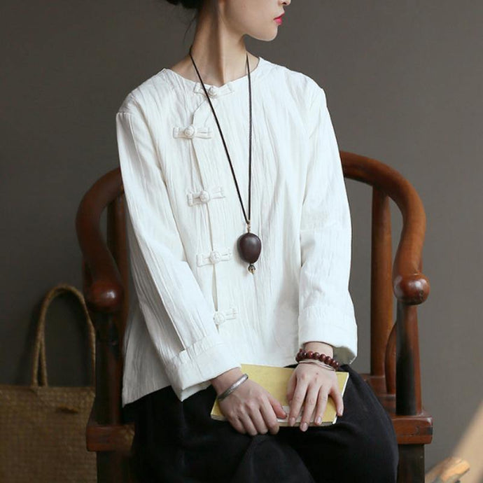 Loose cotton white Blouse Omychic Women Chinese Style Cotton Frog Spring Coat Shirt