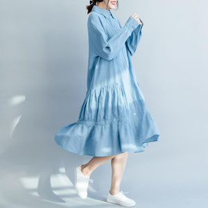 Loose denim blue cotton clothes For Women Soft Surroundings Tunic Tops lapel wrinkled A Line spring Dress