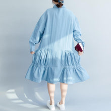 Load image into Gallery viewer, Loose denim blue cotton clothes For Women Soft Surroundings Tunic Tops lapel wrinkled A Line spring Dress