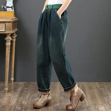 Load image into Gallery viewer, Loose green waist pant loose thick patchwork color design women trousers