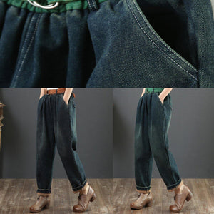 Loose green waist pant loose thick patchwork color design women trousers