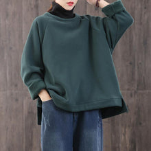 Load image into Gallery viewer, Loose high neck cotton winter tunic top Fashion Ideas green blouse