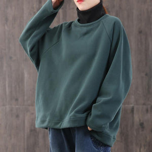 Loose high neck cotton winter tunic top Fashion Ideas green blouse
