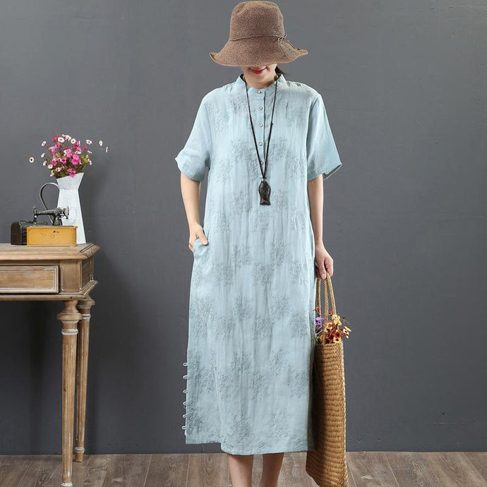 Loose light blue linen clothes For Women boutique Work stand collar embroidery Maxi Summer Dress