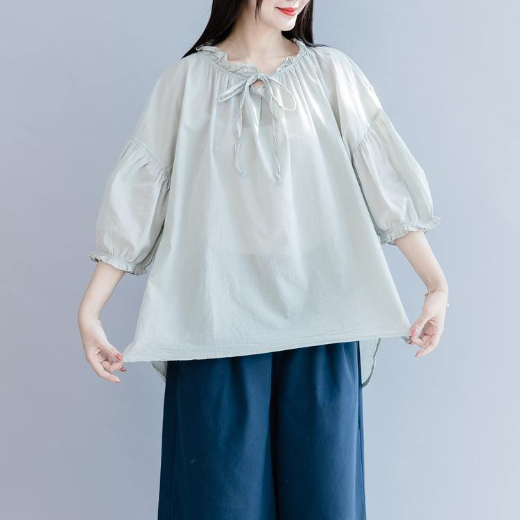 Loose light green cotton shirts women Ruffles lantern sleeve Plus Size Clothing summer top