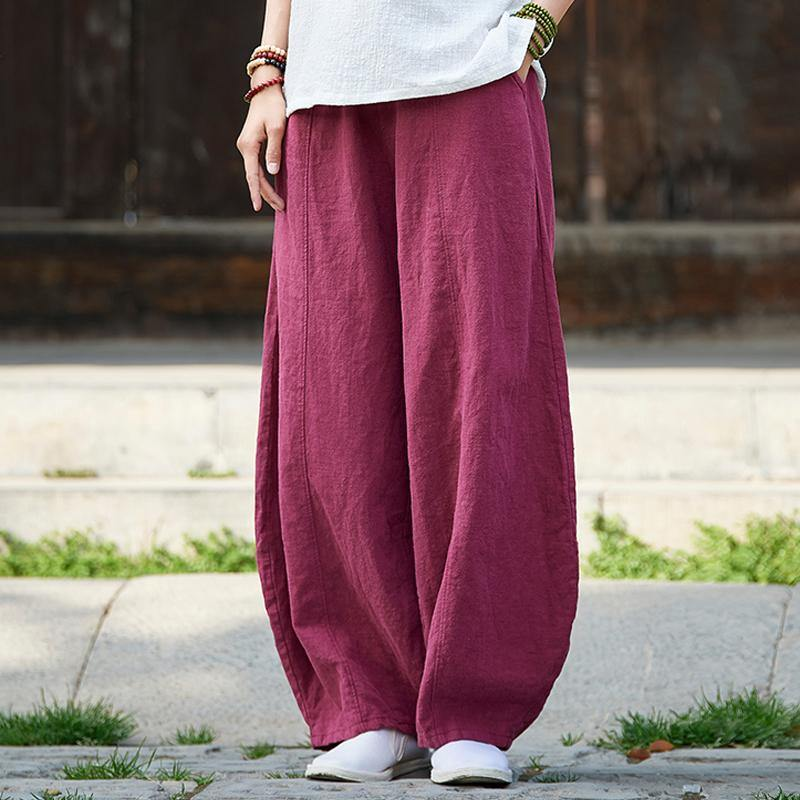 Loose linen clothes Pakistani Women Knickerbockers Loose Autumn Linen Pants