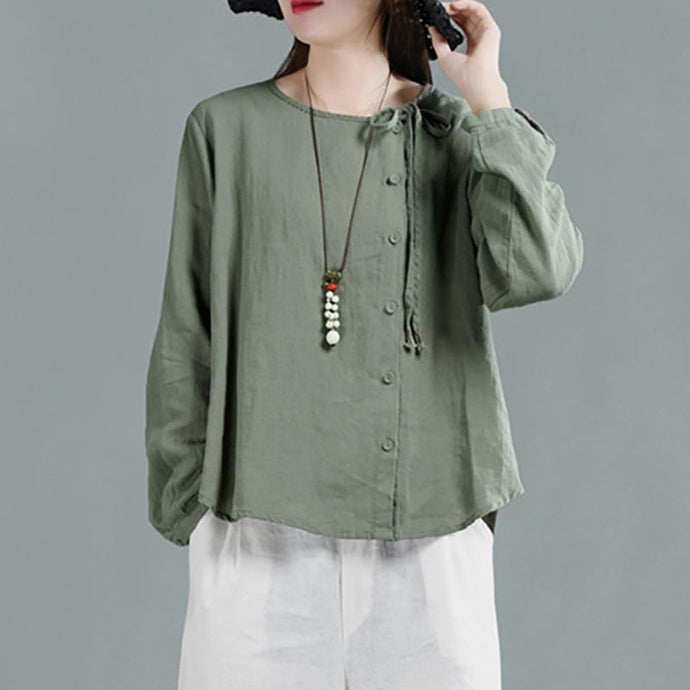 Loose linen tunic top Women Long Sleeve green Lace-Up Blouse