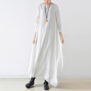 Loose o neck asymmetric linen Soft Surroundings Sewing white loose Dresses