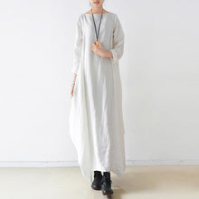 Load image into Gallery viewer, Loose o neck asymmetric linen Soft Surroundings Sewing white loose Dresses